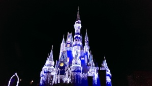 Pretty Christmas themed lighting for Cinderella Castle, Magic Kingdom Park